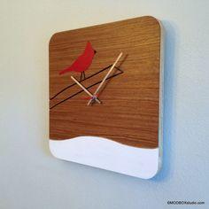 Wood Bird Clock Wall Hanging Art Reclaimed Wood Modern by MODBOX