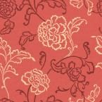 56 sq. ft. Orange Contemporary Line and Floral on a Woven Ground Wallpaper
