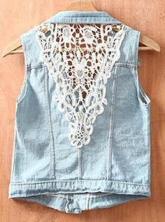 SheIn offers Blue Single Breasted Ripped Sequined Lace Denim Coat & more to fit your fashionable needs. Denim Vests, Denim Coat, Refaçonner Jean, 00s Mode, Gilet Jeans, Alter Pullover, Mode Jeans, Denim And Lace, Diy Clothing