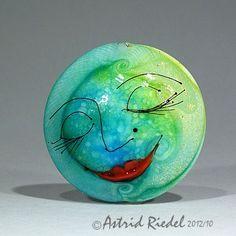 Moon Face sparkleLampwork  lentil shape focal by AstridRiedel