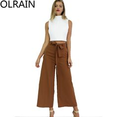 Cheap trousers women, Buy Quality trouser braces directly from China trousers definition Suppliers:    Women Fashion Mid Waist Casual Wide Leg Pants Ankle-Length Pants Palazzo Trousers Bow Sashes      100% Brand New and