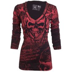 Xtreme Couture AFFLICTION Women LS T-Shirt KILLER Tattoo Biker Sinful ($40) ❤ liked on Polyvore featuring tops, t-shirts, biker tees, purple tee, biker tops, couture tops and purple t shirt