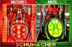 """@Scuderia7: Mick honoring his dad by using the legendary 7 Stars helmet design. #KeepFightingMichael ""//"