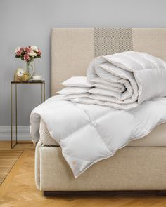 Hungarian Goose Down Pillows, Comforters and Duvets - Hamvay-Láng White Bedding, Linen Bedding, Bed Linen, Comforter Storage, Goose Down Pillows, Cool Comforters, The Embrace, Down Comforter, Good Sleep
