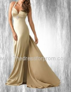 This creamy long satin prom dress is blessed with warm and mellow feelings, to make a woman look more feminine in good taste. The beaded halter with deep V-neck is full of mature seduction. The empire waist along with the ruching long dress with sweep train greatly brings out her charming lines, tall and slender to the point. When she turns around, her crossed beading backless is telling you how enchanting she is.