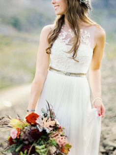 We love this bride's dress: http://www.stylemepretty.com/2013/10/11/rugged-mountain-shoot-from-brumley-and-wells/ | Photography: Brumley & Wells - http://brumleyandwells.com/