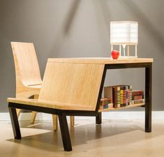 Pi Workstation, designed by Joe Manus for Shiner International, is the perfect little piece of multifunctional furniture, especially for those of you who dwell in small spaces. It can act like a desk, bookshelf and additional occasional chair. Table For Small Space, Chairs For Small Spaces, Small Space Design, Small Desks, Small Bench, Small Dining, Multifunctional Furniture, Unique Furniture, Furniture Decor