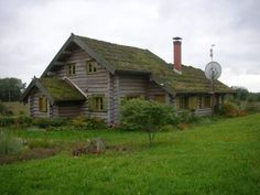 old and new - log cabin, green roof, satellite