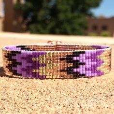 Purple Rush Bead Loom Bracelet Bohemian Boho Artisanal Jewelry Indian Western Beaded Tribal Southwestern Turquoise Brown Santa Fe by PuebloAndCo on Etsy https://www.etsy.com/listing/236013765/purple-rush-bead-loom-bracelet-bohemian