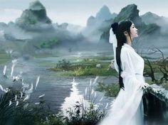 古装服装唐装汉服白色COS拖尾仙女服装演出服贵妃小龙女古装长裙-淘宝网