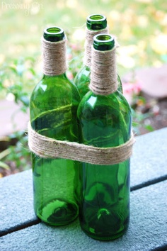 Jute Wrapped Wine Bottles... This would make a cute outdoor vase!