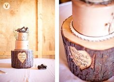 initial carved tree trunk base wedding cake | Wedding Cake with a Hand-Carved Tree Trunk Stand. Too cute!
