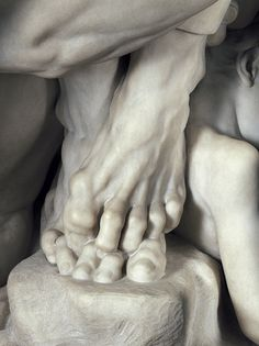 amazing foot detail of brilliant marble sculpture by French Carpeaux