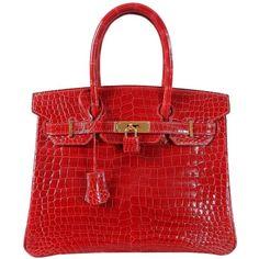 a55e590504 Hermes Bright Red Porosus Crocodile Birkin Bag 30 with Gold Hardware