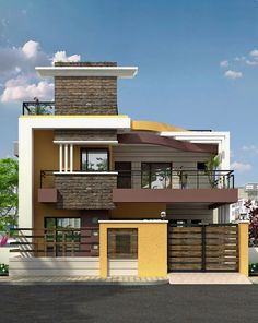landscape architecture - We provide online architectural visualization to bring every benefit and feature of your idea, project and product to your target client, all within your budget and time frame I Will Rendering Architectural floor plans home Bungalow Haus Design, Duplex House Design, House Front Design, Modern House Design, Small House Design, Casa Mix, Independent House, Indian House Plans, Kerala House Design