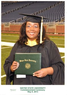 My name is Devan Brie Green.  This is me on graduation day May, 2013.  I graduated from Wayne State University School of Library Information Science.  I am so happy and proud to have my MLIS!  I work at two public libraries in Michigan.  I am an Outreach Librarian and a Teen Services Librarian.  It's a lot of work, but I love being a librarian!