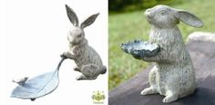 """Adorable bunny alert! These two are so cute...sure to draw, """"awwwww!""""s from your guests, as well as tons of birds for snacking on bird seed."""