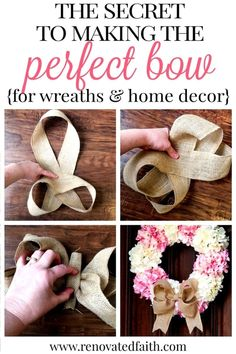 The Easiest Burlap Bow Tutorial (The Secret to Making a Burlap Bow!) - The Secret to Making a Burlap Bow – Whether you are wanting to make a burlap bow for a wreath wit - Making Bows For Wreaths, How To Make Wreaths, How To Make Bows, Making A Bow, Diy Ribbon, Ribbon Bows, Wired Ribbon, Ribbons, Ribbon Flower