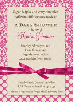 Pink Cream Damask Baby Shower Invitations  by ShutterbugSentiments, $18.00