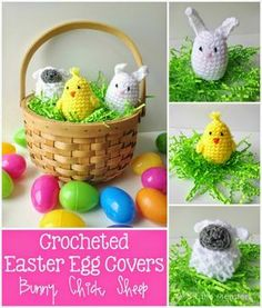 Crocheted Easter Egg Covers- Bunny, Chick, and Sheep Free pattern from 5 Little Monsters #freepattern #crochet #easter