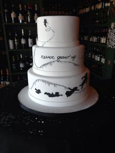 Peter Pan theme birthday cake but likely not black and white