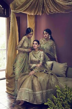 "sabyaasachi: """"Manvitha Mallela, Aditi Rao Hydari & Ravyanshi Mehta for Vogue India Designer: Sabyasachi Mukherjee "" "" Indian Bridal Outfits, Indian Bridal Fashion, Indian Bridal Wear, Pakistani Bridal, Bridal Lehenga, Pakistani Dresses, Indian Dresses, Bridal Dresses, Lengha Saree"