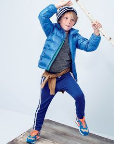 NOV '14 Style Guide: J.Crew boys lightweight puffer jacket, jersey tee, track pant, and beanie.