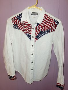 Roughrider Circle T USA Flag Western Cowgirl L s Button Women's Shirt Top Small | eBay