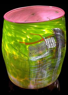 Dale Chihuly - Rose Soft Cylinder With Lavender Lip Wrap, 1989
