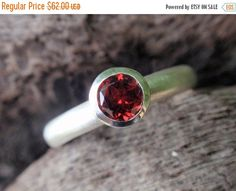 SALE 10% OFF red garnet stone ring 5mm natural red by preciousjd