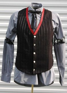 M Mens Steampunk Vest The Alchemist Red Black Silver by OLearStudios
