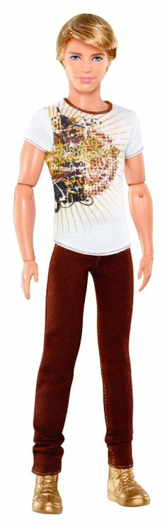 Amazon.com: Barbie Ken Fashionistas Muñeca con Jeans Brown y camiseta blanca: Toys & Games