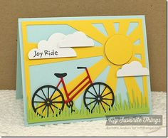Pure Innocence I Wheelie Like You, Bicycle Die-namics, Flat-Bottom Clouds Die-namics, Fresh Cut Grass Die-namics, Sun Ray Die-namics - Barbara Anders #mftstamps