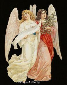 German Victorian Style Scrap Die Cut -Lrg Christmas / Easter  Angels     BK5025