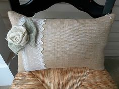 "11"" x 17"" Burlap and Lace Pillow with Burlap Rose and Leaves 