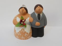 Wedding cake topper in clay by oggettiterracotta on Etsy