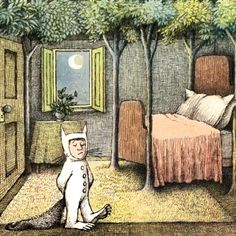 """""""The night Max wore his wolf suit and made mischief of one kind and another, his mother called him 'WILD THING!' and Max said 'I'LL EAT YOU UP!' so he was sent to bed without eating anything. . . ."""""""