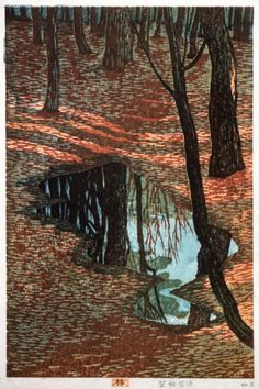 In the Woods Kasamatsu Shirō (Japan, 1898-1991) Japan, 1955 Prints; woodcuts Color woodblock print Image: 14 3/4 x 9 1/2 in. (37.5 x 24.1 cm); Paper: 15 3/4 x 10 15/16 in. (40.0 x 27.8 cm) Gift of Mr. and Mrs. Felix Juda (M.73.37.364) Japanese Art