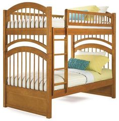 Windsor Bunk Bed Twin Over Twin in a Caramel Latte