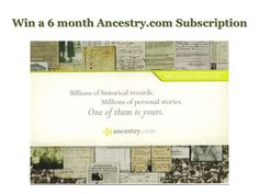 Win a 6-Month Ancestry.com Membership Genealogy Forms, Genealogy Sites, Genealogy Research, Family Genealogy, Family Tree Research, Family Trees, We Are Family, Ancestry, Family History