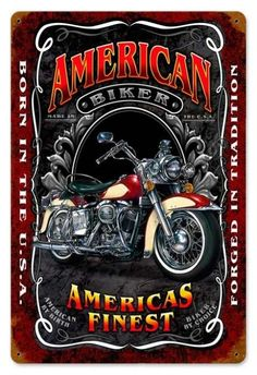 Vintage and Retro Wall Decor - JackandFriends.com - Vintage American Biker Metal Sign LARGE, $39.97 (http://www.jackandfriends.com/vintage-american-biker-metal-sign-large/)