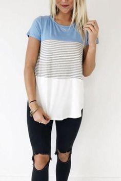 Blue Contrast Short Sleeve Vertical Stripe Tee Shirt
