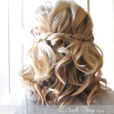 Braided half up-half down hair style