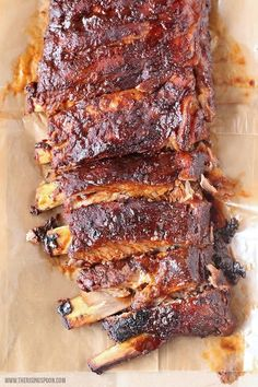 Crockpot BBQ Ribs - Need easy weeknight meal ideas? Check out this incredible roundup of 25 Easy Slow Cooker Recipes full of delicious slow cooked meals that you can throw in the crockpot and enjoy! Slow Cooker Ribs, Slow Cooker Recipes, Crockpot Recipes, Cooking Recipes, Cooking Ideas, Bbq Ribs, Salsa Barbacoa, Bbq Meat, Bbq Pork