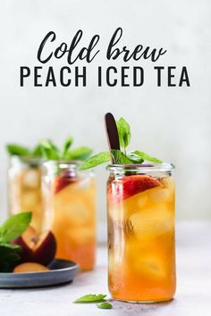 This homemade cold brew peach iced tea is a healthy alternative to store bought that is naturally sweetened and flavoured with peaches, orange zest and mint! Cool down with a glass of this refreshing iced with infused with peaches, orange zest and mint! Best Iced Tea Recipe, Iced Tea Recipes, Refreshing Drinks, Summer Drinks, Peach Ice Tea, Peach Green Tea, Homemade Iced Tea, Smoothie Drinks, Smoothies