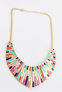 Colorful Shining Bib Collar Necklace.