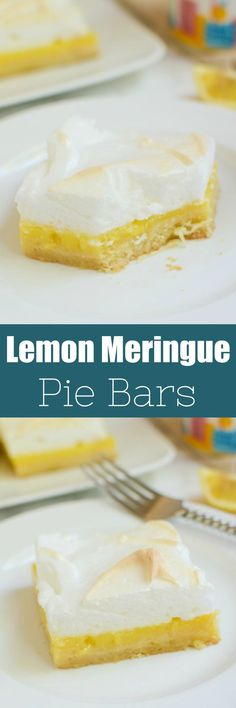 Lemon Meringue Pie Bars - buttery shortbread crust with tart lemon filling, topped with fluffy toasted meringue!