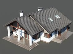 Projekt domu Nel II 2G 122,08 m2 - koszt budowy 220 tys. zł - EXTRADOM Modern Bungalow House, Roof Design, Home Fashion, Home Improvement, Villa, Construction, Cabin, Architecture, House Styles