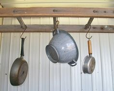 3 Rung Pot Rack using Vintage Ladder  Choose a by ARusticGarden, $44.95