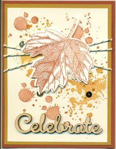 Cased from Kris Dickinson (my upline): Gorgeous Grunge and Vintage leaves bundle, baker's metallic twine, Colors: Cajun Craze, Delightful Dijon
